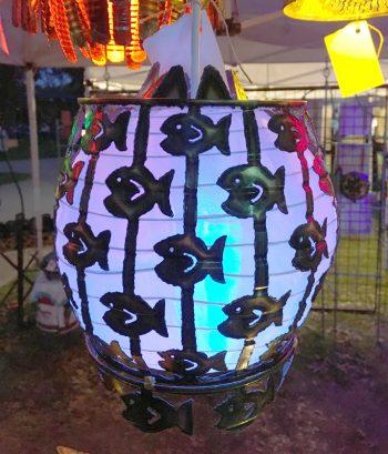 Round Silk Shade with Fringe – $50
